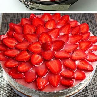 Easy No Bake Strawberry Cheesecake recipe is a perfect homemade dessert rich with graham cracker crust, cream cheese, lemon juice and fresh & juicy strawberries ♥