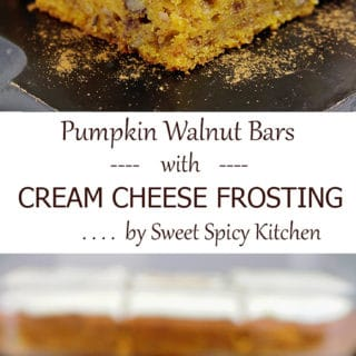 Aaaand another pumpkin dessert – Pumpkin Walnut Bars with Cream Cheese Frosting.