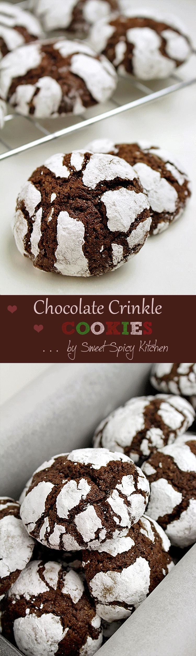 Christmas Chocolate Crinkle Cookies - Sweet Spicy Kitchen