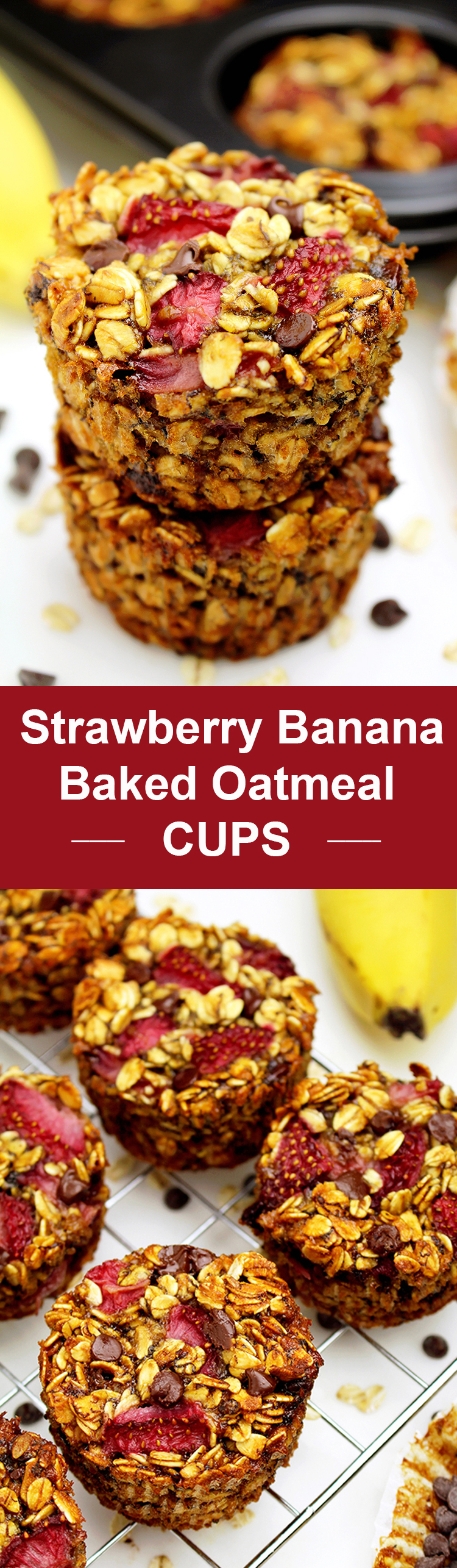 Strawberry Banana Baked Oatmeal Cups