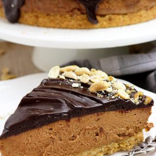 Chocolate Peanut Butter Cheesecake with Pretzel Crust