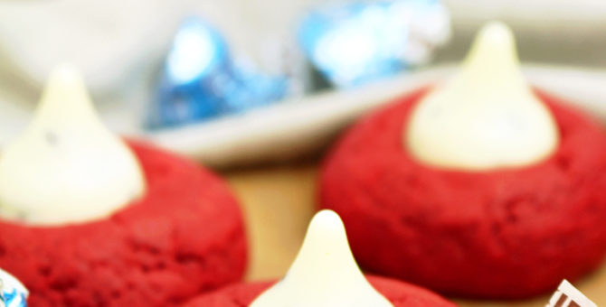 Holiday Red Velvet Kiss Cookies
