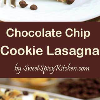 Chocolate Chip Cookie Lasagna is a light and creamy dessert with chocolate chip cookie crust.