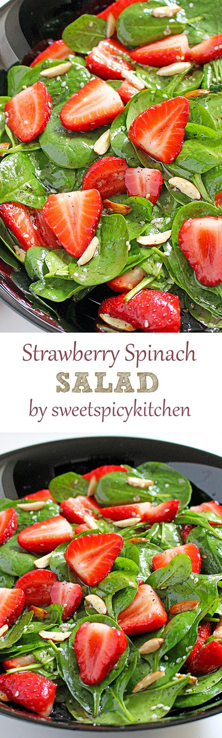 Quick and Easy Strawberry Spinach Almond Salad a great refreshing salad for these spring/summer days..