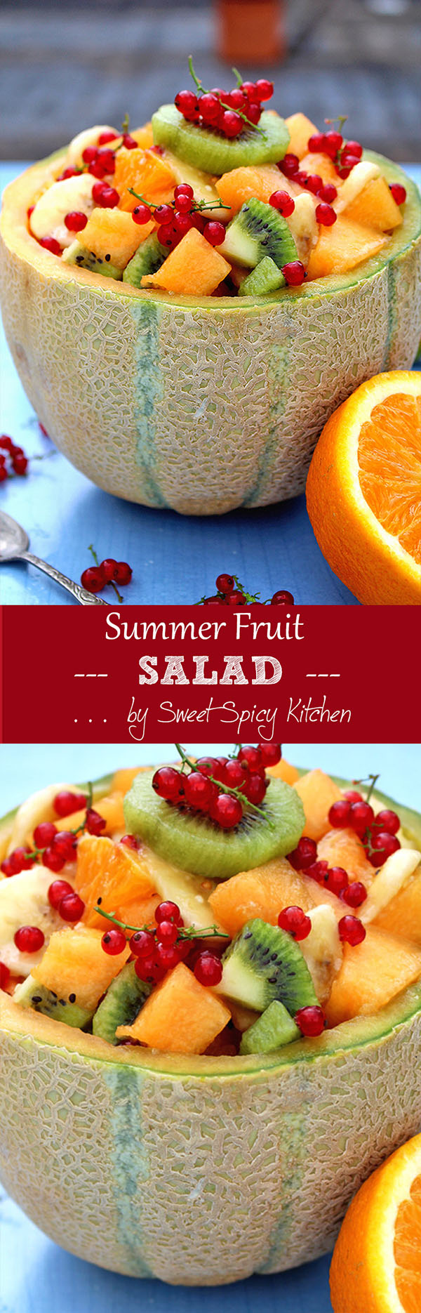 Refreshing Summer Fruit Salad enriched with melon, orange, kiwi, banana and currant. Drizzled with orange juice and honey.