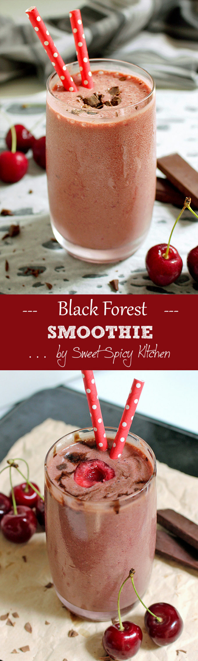 Get your fruit smoothie here.. Would you like the one with cherries and bananas? Now something even better.. Black Forest Smoothie recipe.