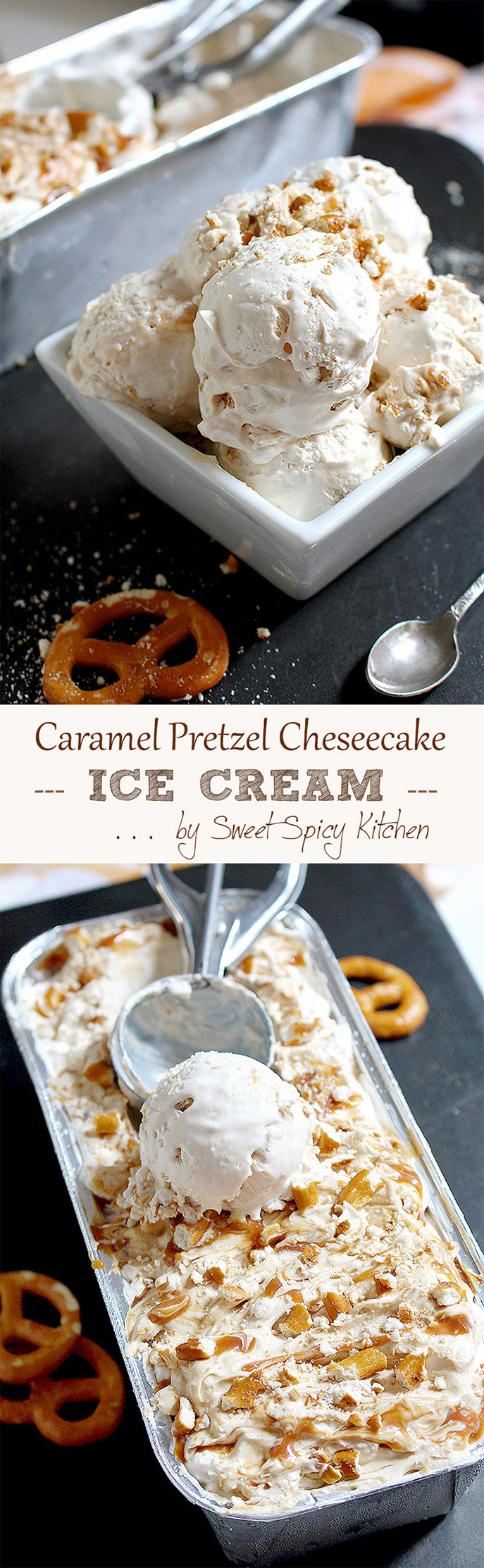Great combo of pretzel and caramel cheesecake in form of ice cream. Absolutely delicious and tasty Caramel Pretzel Cheesecake Ice Cream.