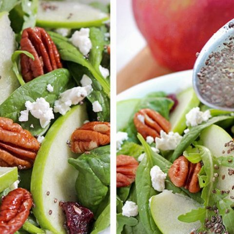 Today on the menu is a healthy food – Cranberry Pecan Spinach Salad recipe rich with apples and cheese. A delightful blend of different flavors in one bowl.