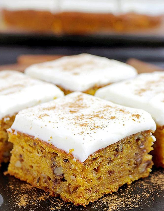 Pumpkin Walnut Bars with Cream Cheese Frosting