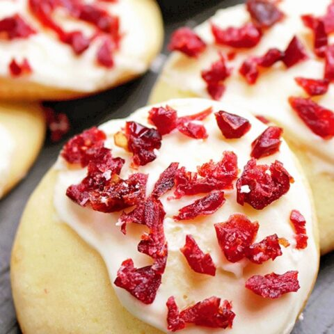 Cranberry Frosted Soft Sugar Cookies
