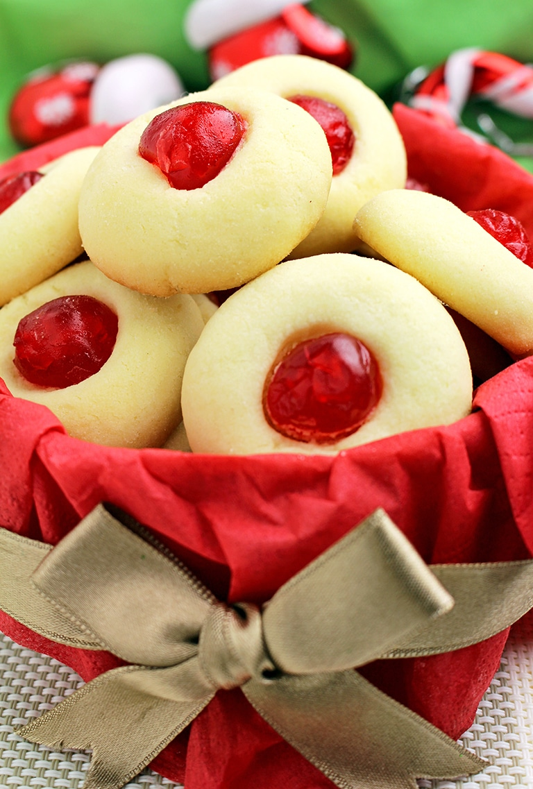 Holiday Maraschino Cherry Shortbread Cookies