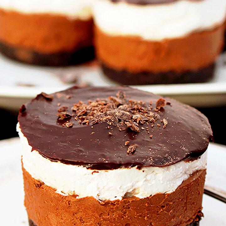 I'm making my shopping list and planning to make a special no bake dessert, that is delicious and looks great – No Bake Layered Chocolate Mini Cheesecake.