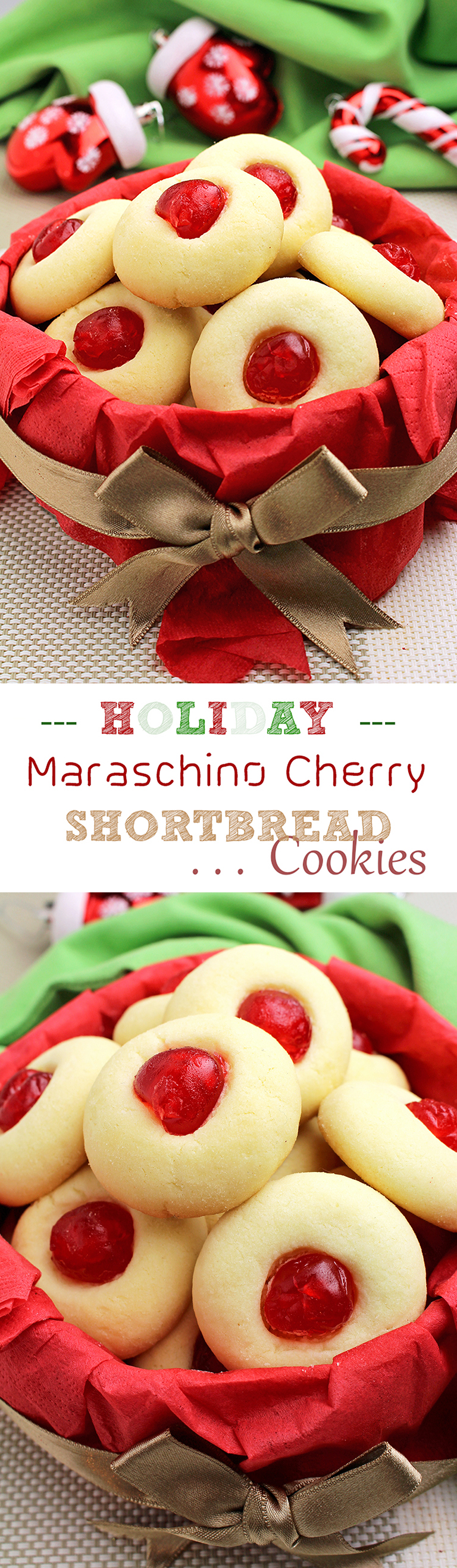 Holiday Maraschino Cherry Shortbread Cookies… Christmas, New Year, Santa Claus, Christmas Tree, Cookies… everything is about holidays these days.