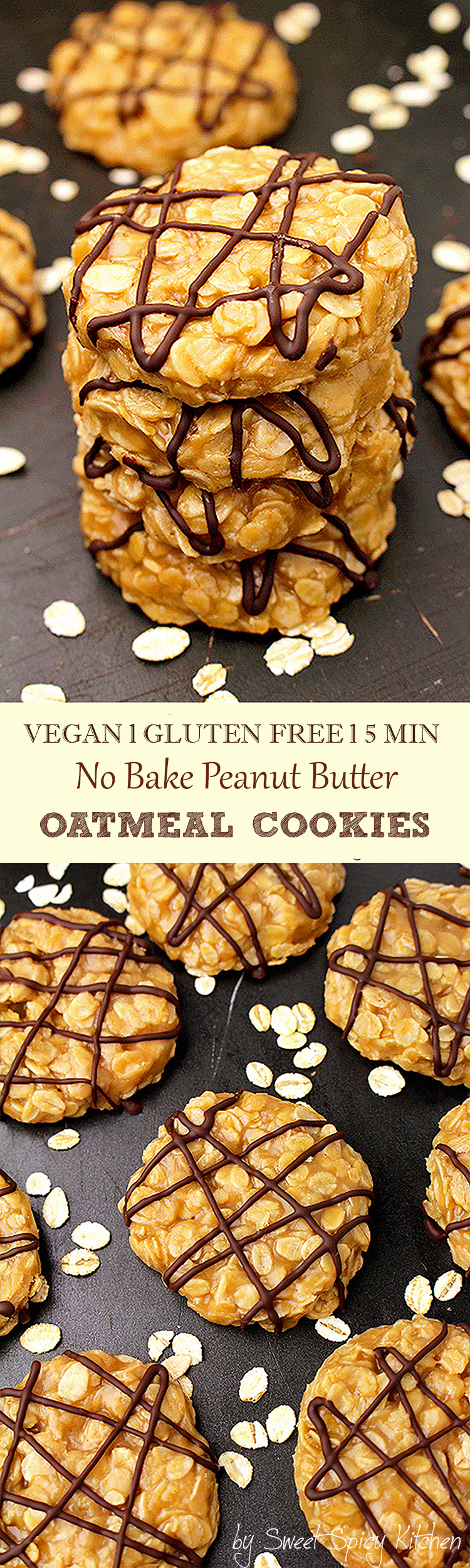 No Bake Vegan Peanut Butter Oatmeal Cookies - delicious healthy cookies made of gluten free oat and peanut butter, enriched with coconut oil and coconut milk.