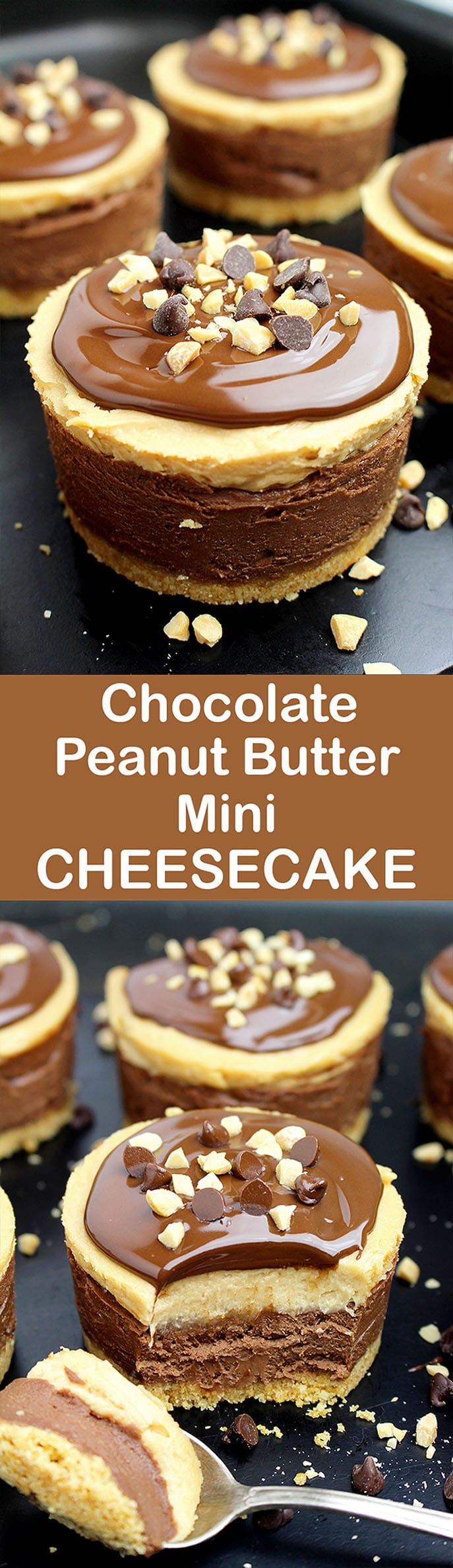 Chocolate and peanut butter, do you like this combination. If your answer is yes, we have an awesome dessert for you No Bake Chocolate Peanut Butter Mini Cheesecake.