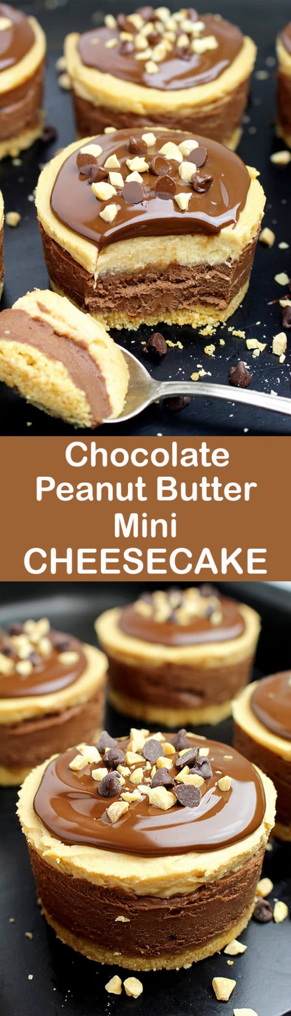 Chocolate and peanut butter… Do you like this combination? If your answer is yes, we have an awesome dessert for you – No Bake Chocolate Peanut Butter Mini Cheesecake
