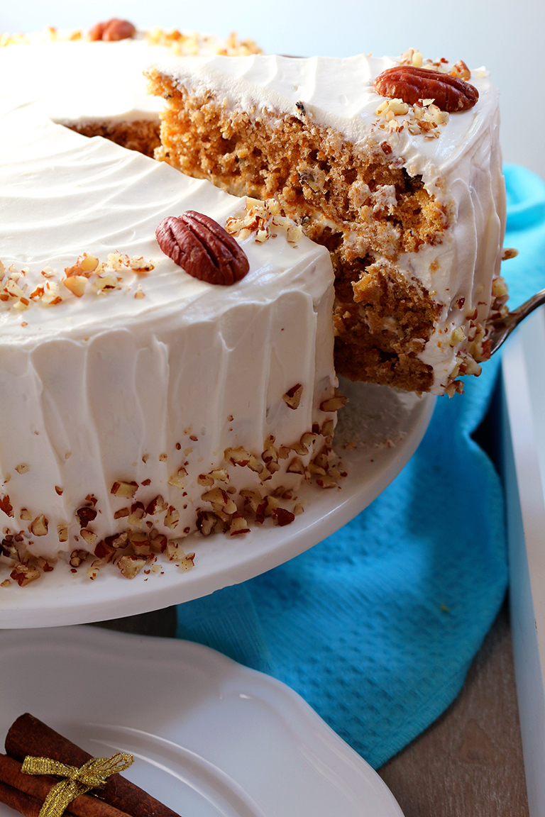 Special dessert for special occasions – Carrot Cake with Cream Cheese Frosting. This fantastic cake is perfect for Easter or some other festival.