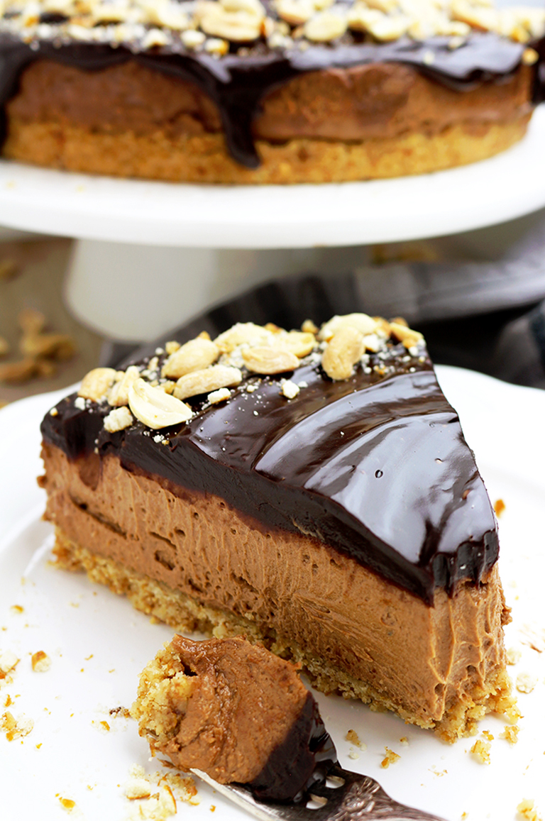 Chocolate Peanut Butter Cheesecake with Pretzel Crust