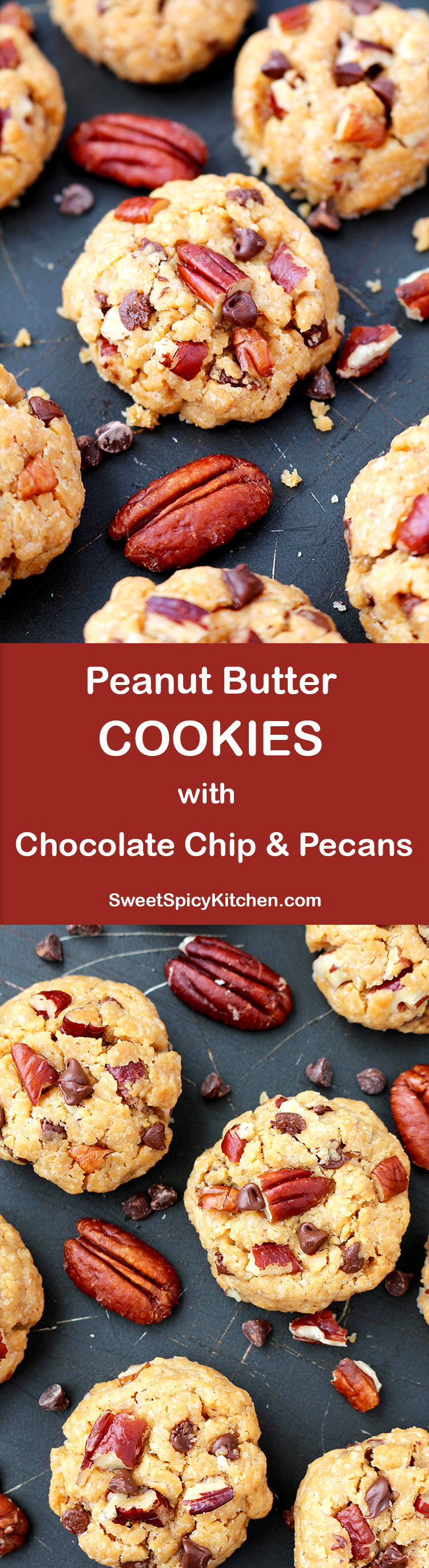 Peanut Butter Cookies with Chocolate Chip and Pecans