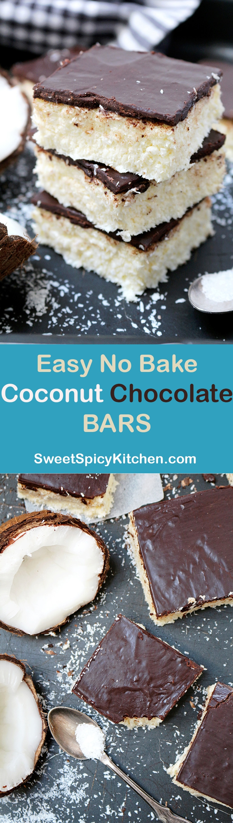 Easy No Bake Coconut Chocolate Bars super quick and delicious bars you will love. Light and refreshing, melt in your mouth dessert perfect for hot summer days