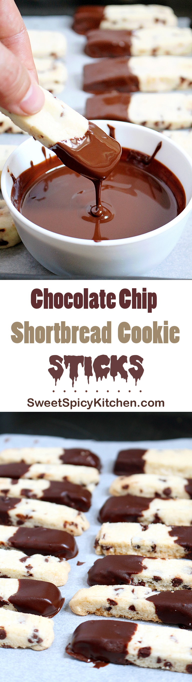 Chocolate Chip Shortbread Cookie Sticks
