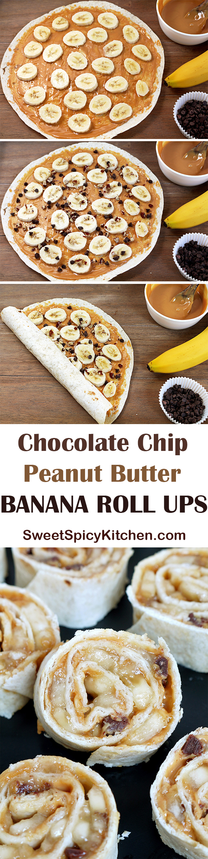 Chocolate Chip Peanut Butter Banana Roll Ups