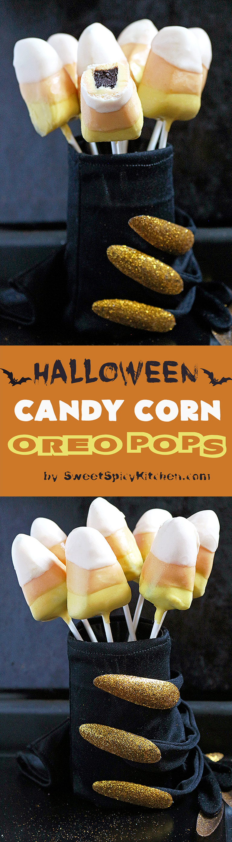This is my recipe for Halloween. Only three ingredients are enough to make Halloween Candy Corn Oreo Pops. Super easy, no bake recipe. Are you ready for the Halloween party? October 31st is getting closer.