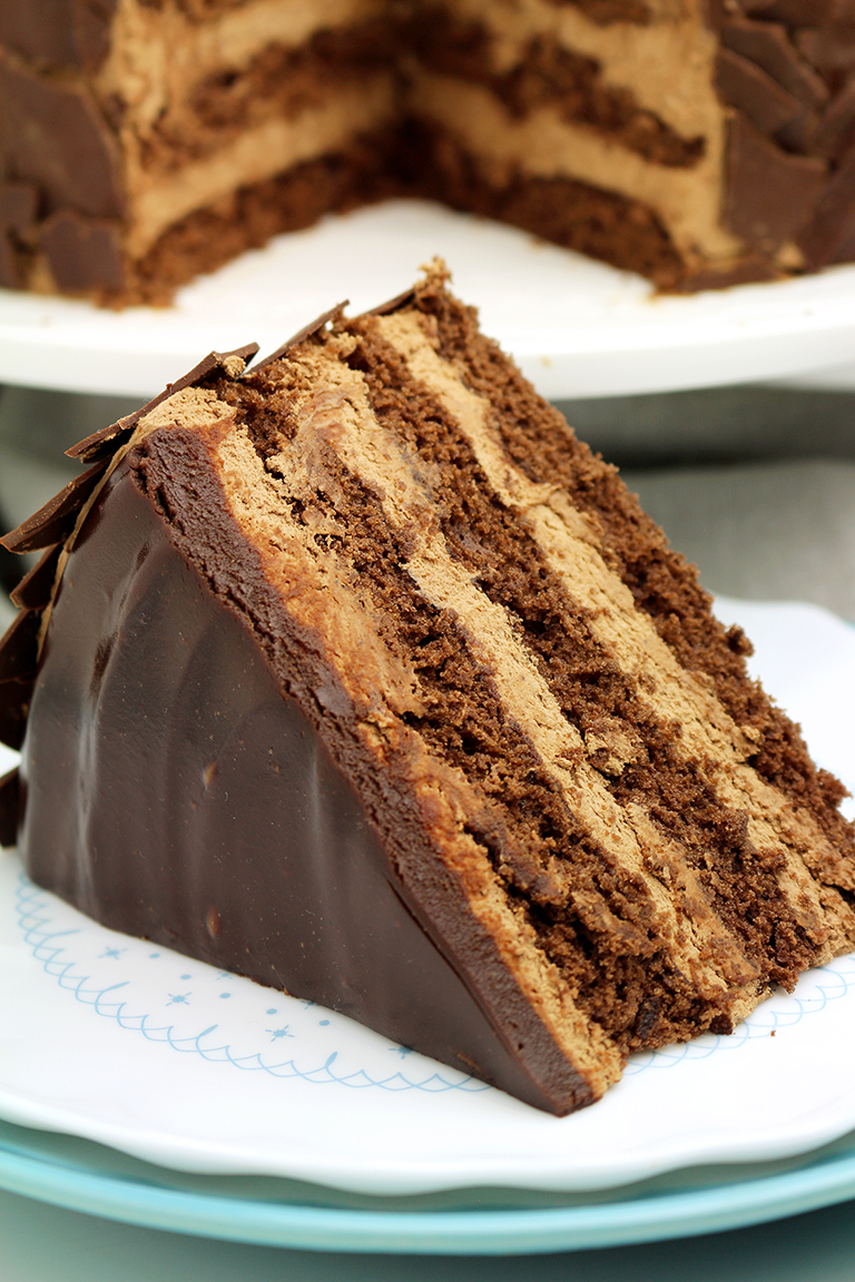 Chocolate Mousse Cake – a chocolate cake filled with chocolate mousse will be loved by all chocolate fans. My son is one of them and this cake has been made especially for him.