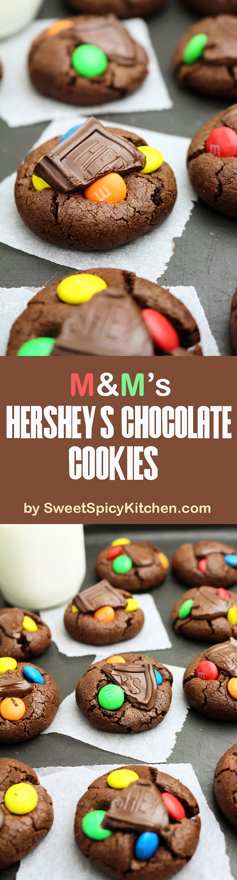 M&M's Hershey's Chocolate Cookies – super quick cookies for all chocolate, M&M and cookie fans. You will experience a real explosion of chocolate taste ♥