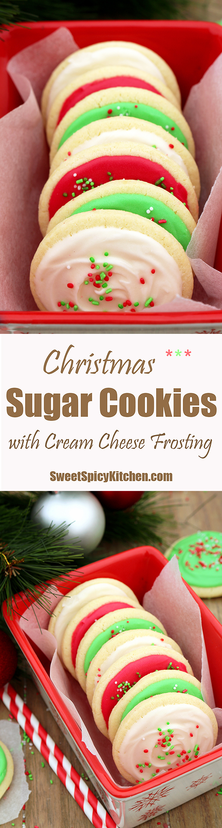 Christmas Sugar Cookies with Cream Cheese Frosting are perfect for the upcoming holiday – Christmas, especially for those who like sugar cookies on their Christmas plates