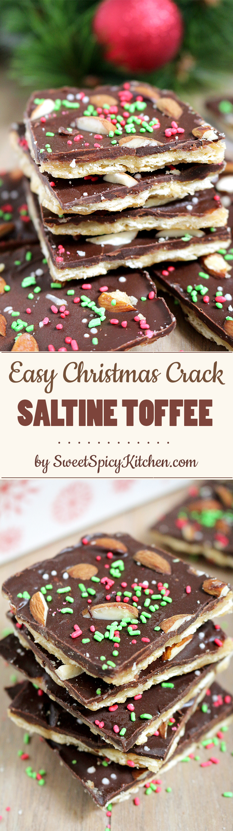 Easy Christmas Crack Saltine Toffee is a perfect crunchy Christmas treat. It's a last minute dessert for all those who don't have enough time for preparing holiday desserts.