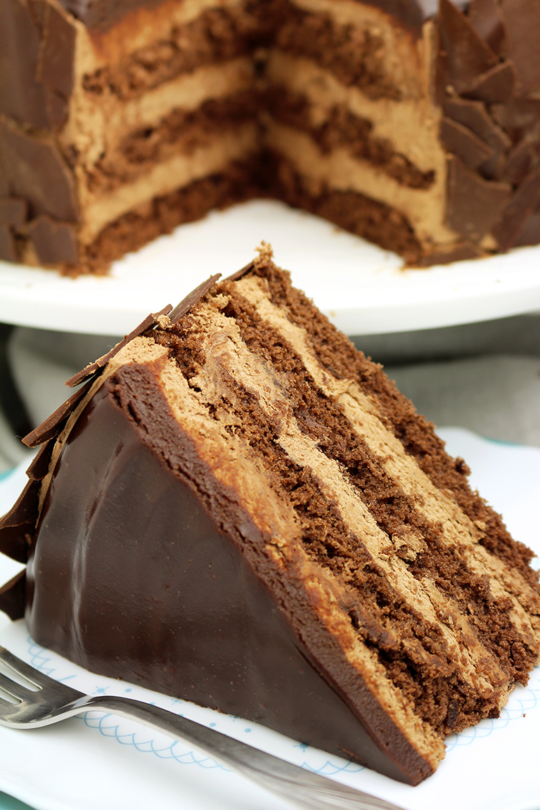 Chocolate Mousse Cake - a chocolate cake filled with chocolate mousse will be loved by all chocolate fans.