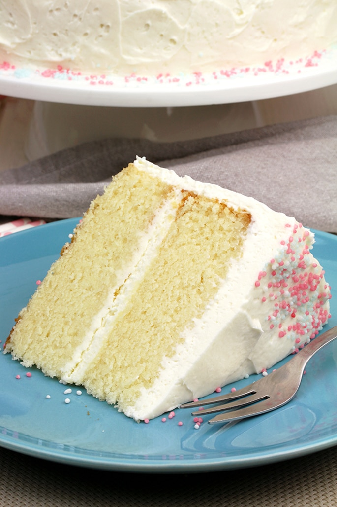 Vanilla Cake with Whipped Cream Cheese Frosting