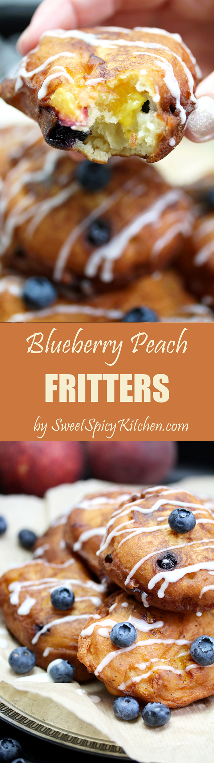 Blueberry Peach Fritters with Vanilla Glaze