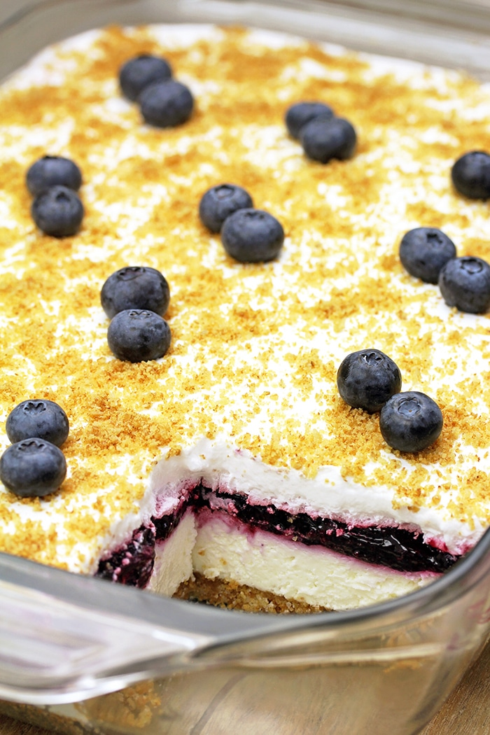 This Blueberry Pie Lush is a quick and tasty dessert with blueberry pie filling.
