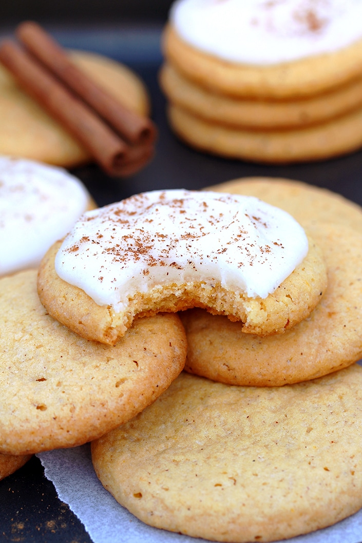 Pumpkin Sugar Cookies with Cream Cheese Frosting