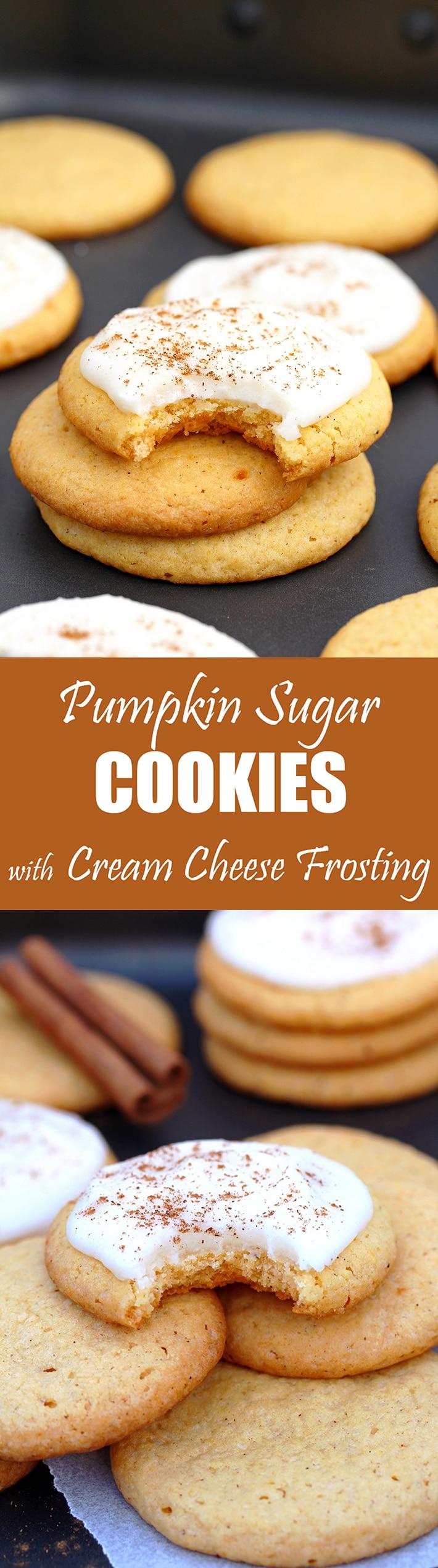 Pumpkin Sugar Cookies with Cream Cheese Frosting  – these crunchy sugar cookies with pumpkin and cream cheese frosting are perfect for fall and upcoming holidays