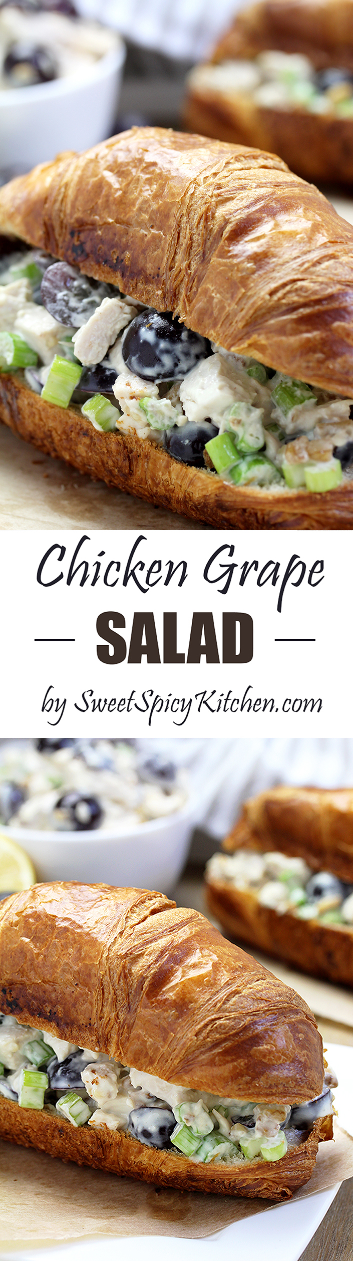 The Best Chicken Grape Salad is a delicious quick & easy salad with chicken, grapes, celery, walnuts/pecans and a dressing that makes it really special.