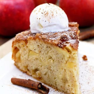 Easy Cinnamon Sugar Apple Cake – a soft cake filled with juicy apples, topped with cinnamon and sugar.