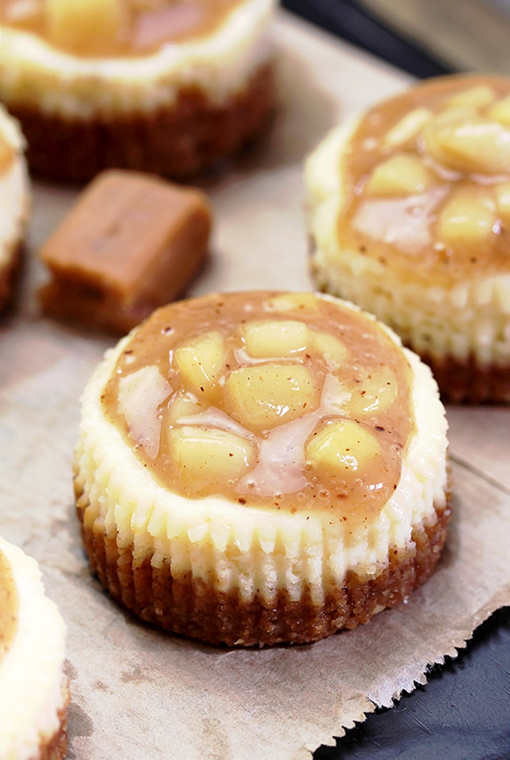 Caramel Apple Mini Cheesecake – delicious mini cheesecake with caramel topping and apples just perfect for fall days.