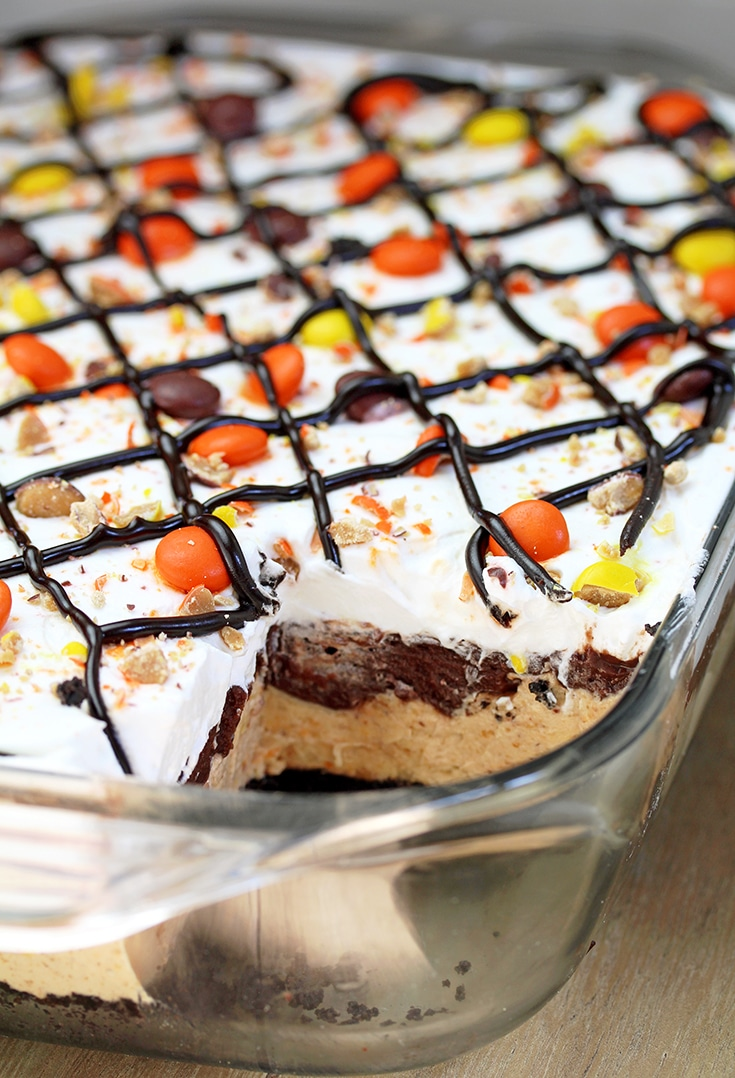 Reese's Pieces Peanut Butter Chocolate Lasagna – simple and easy, no bake, layered, rich taste dessert, with Reese's pieces, Oreo cookies, peanut butter and chocolate pudding topped with cool whip, Reese's pieces, and chocolate syrup.