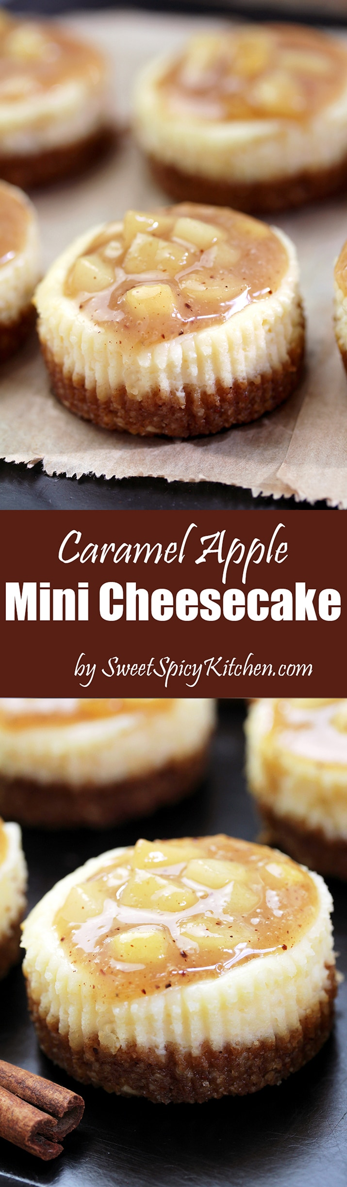 Caramel Apple Mini Cheesecake - with caramel topping and apples just perfect for fall days.