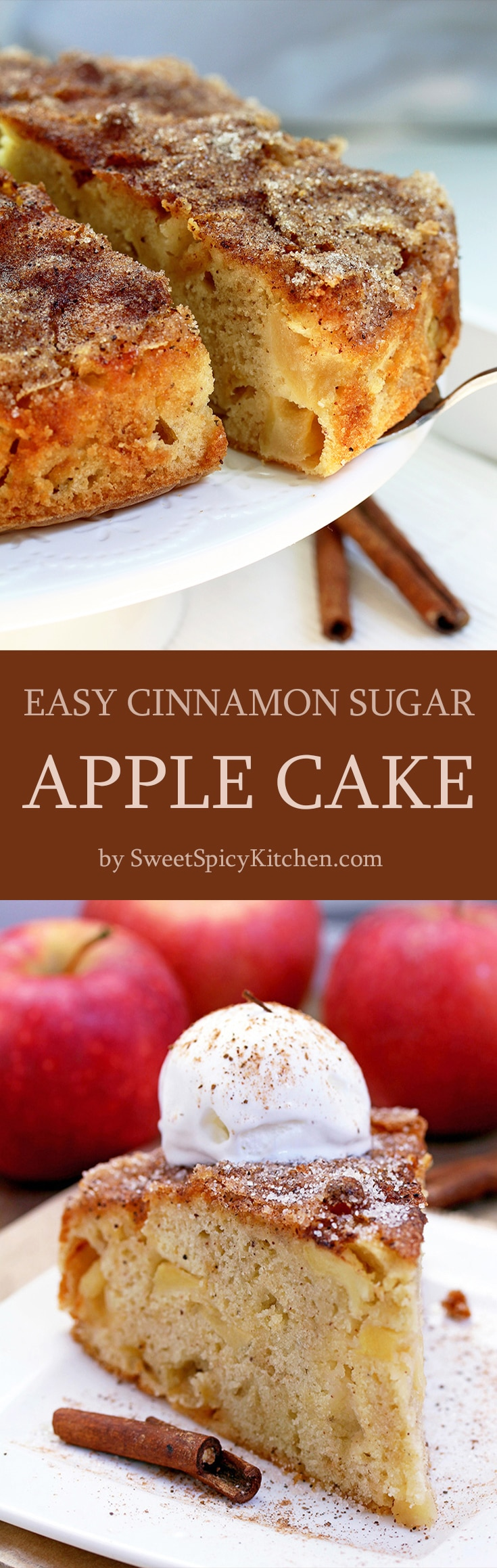 Easy Cinnamon Sugar Apple Cake – a soft cake filled with juicy apples, topped with cinnamon and sugar. This is a real fall treat.