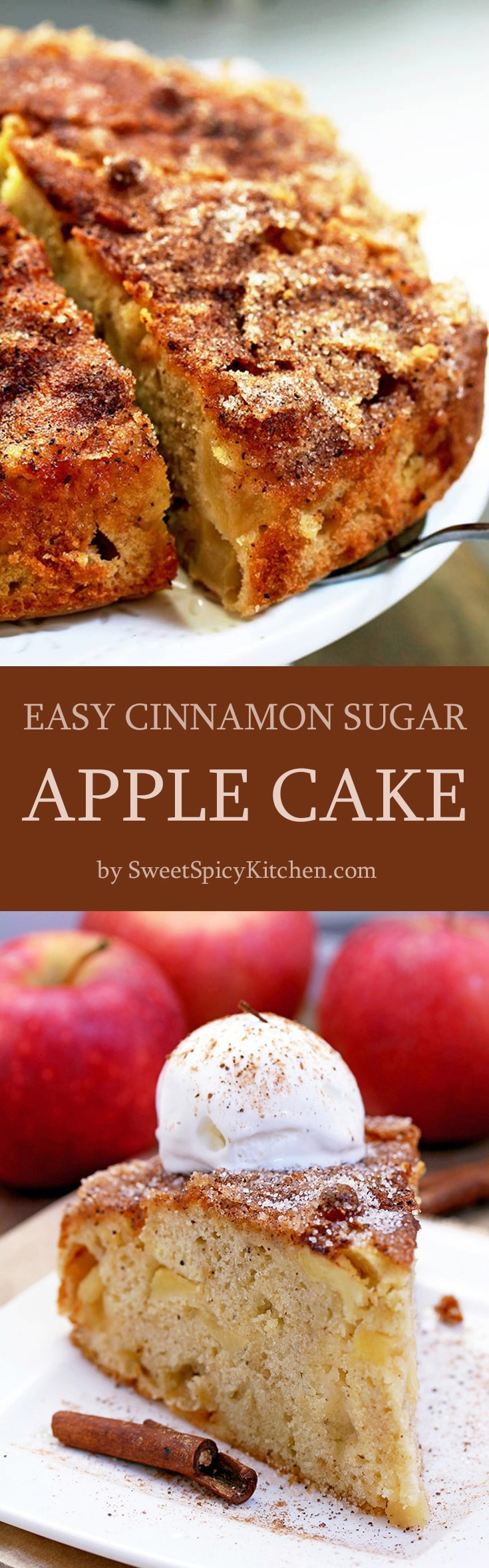 Easy Cinnamon Sugar Apple Cake – a soft cake filled with juicy apples, topped with cinnamon and sugar. This is a real fall treat