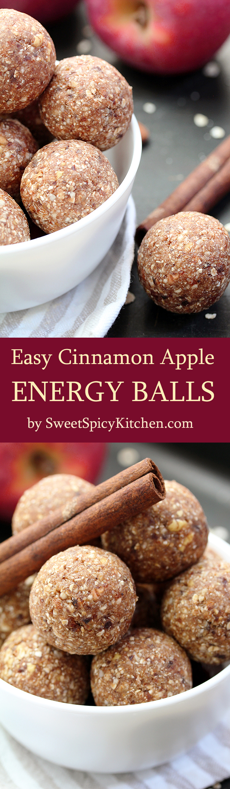 Easy Cinnamon Apple Energy Balls are light, delicious, nutritious, no bake balls, made of dried apples, dates, almonds, oat flakes, honey and cinnamon. Yummy!