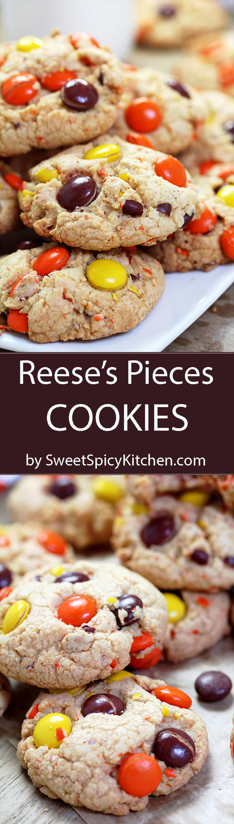 Reese's Pieces Cookies – crunchy outside, soft inside – perfect fall cookies in Halloween colors.