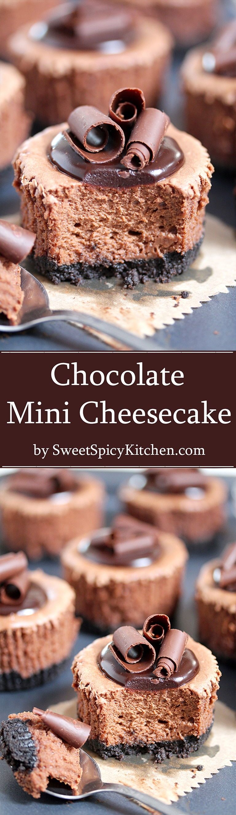 Chocolate Mini Cheesecake with Oreo Crust – this creamy, rich cheesecake with full chocolate taste and Oreo layer, topped with chocolate ganache and formed as mini cheesecakes, will be loved by all the chocolate fans.