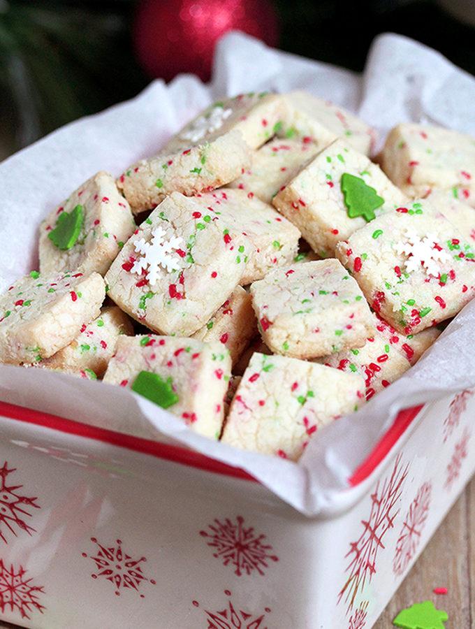 Holiday Funfetti Shortbread Bites