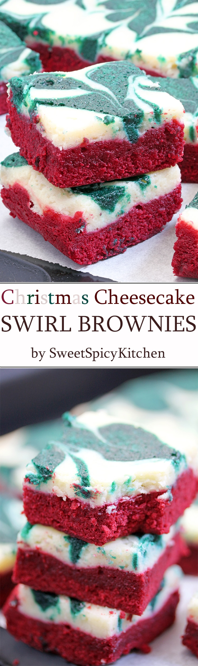 Christmas Cheesecake Swirl Brownies are quick and easy, super tasty brownies with a red velvet brownie layer, a cheesecake layer and swirl with green velvet brownies. Christmas colors…
