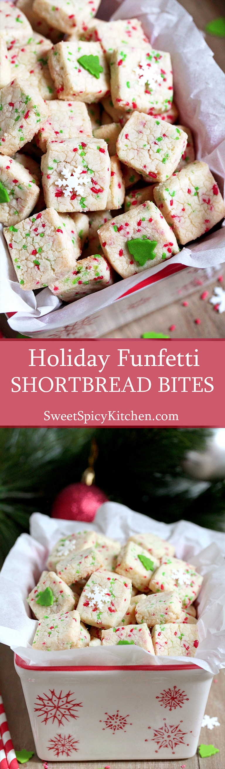 Holiday Funfetti Shortbread Bites – quick & easy, sweet, crunchy bites are perfect for holidays.  Christmas, New Year, Easter, Fourth of July – just make sure to match the sprinkles color with the holiday.